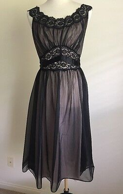 Vtg Vanity Fair Nightgown Sheer Black Pink Lined Gorgeous Gown SZ-36
