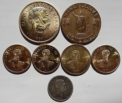 1883 Hawaii quarter and 6 tokens and medals