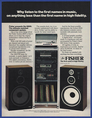 Vintage 1981 FISHER System 8500 100 W Stereo Hi-Fi Electronics Print Ad 80's