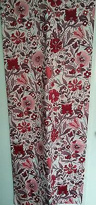 VTG Grafton Calpreta-Fixt Cotton Interiors Fabric Pink Jacobean Floral UNUSED XL