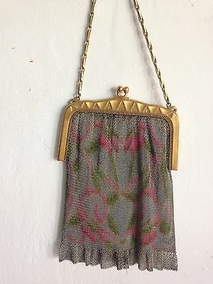 WHITING & DAVIS EARLY 20th CENTURY FLORAL MESH PURSE WITH GOLD FRAME