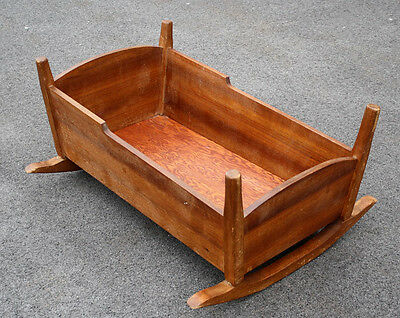 "36""Large Antique Vintage Mahogany Solid Wood Wooden Rocking Cradle Baby Bed Crib"