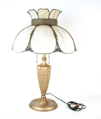 Antique Art Nouveau Style Cast Metal Lamp with Slag Glass Shade Old Works!