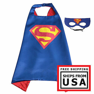 Kids Superhero Superman Cape & Mask Costume Set For Birthday and Party Favors