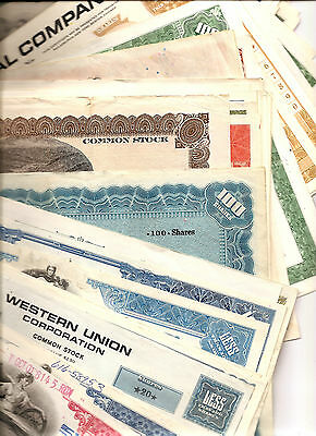 50 ALL DIFFERENT STOCK+BOND CERTIFICATES SETS many VINTAGE or ANTIQUE