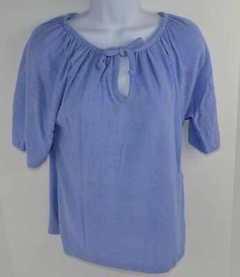 Vtg 1982 TERRY CLOTH Short Sleeve Tie Neck Shirt Blouse Top BLUE Medium NOS