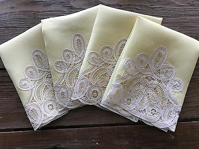 4 Vintage Pale Yellow Linen Hand Towels Handmade Battenburg Tape Lace Trim 11x15