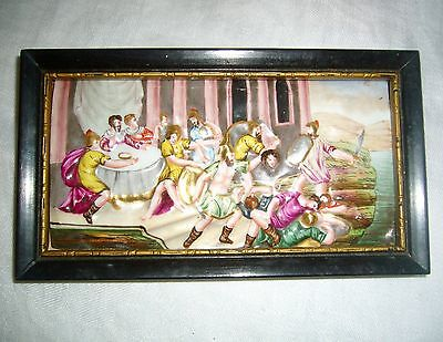 ANTIQUE CAPODIMONTE c1771-1834 ROMAN BATTLE W/ BEHEADING SCENE PORCELAIN PLAQUE