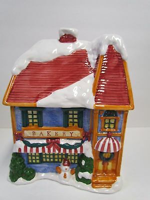 Large Cooks Club Ceramic Holiday Bakery Cookie Jar ~ Hand Painted ~ Winter