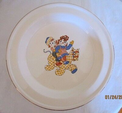 Vintage 1941 Crooksville Johnny Gruelle Raggedy Ann & Andy Ware Plate Gold