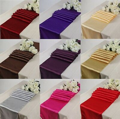 "12""x 108"" Inch Satin Table Runners Chair Swags Wedding Party Table Decoration"