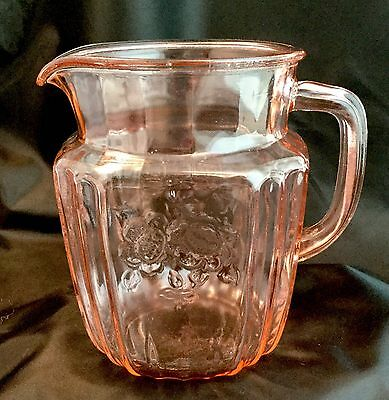 """Anchor Hocking Pink Depression Glass Mayfair Open Rose Pitcher 6"""" tall"""