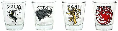 Game Of Thrones Set Of 4 Shot Glasses (New)