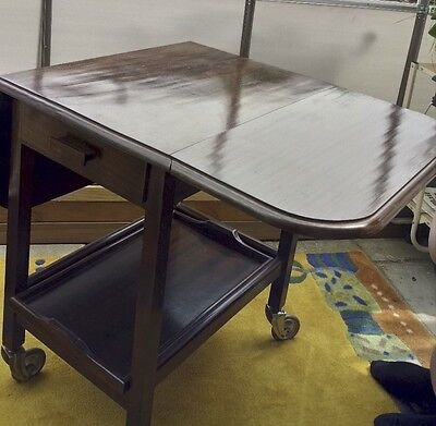 Vintage 1960's Mahogany Table Trolley Beautifully Handmade Drop Leaf