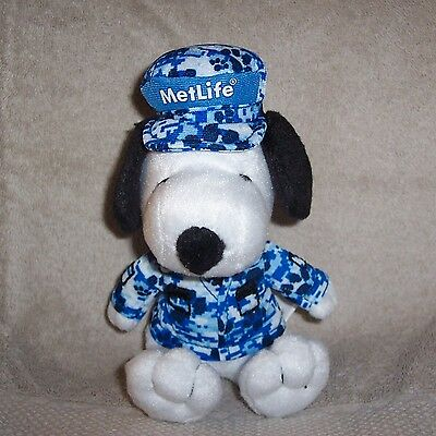 """Wow ---> Snoopy  Metlife  2011  Soldier  Blue  Camouflage  Fatigues  6""""  Plush"""