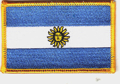 ARGENTINA  FLAG w/GOLD BORDER/Iron On Patch Applique/Filipino, National Flag