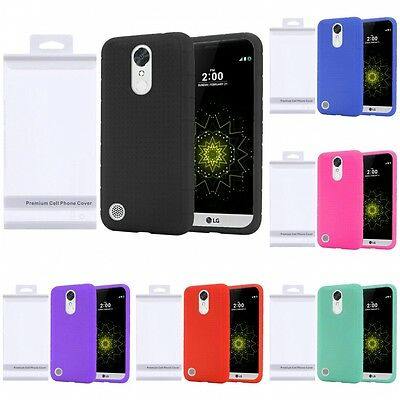 For LG K20 Plus K10 2017 Rugged Silicone Protection Grip Soft Skin Case Cover