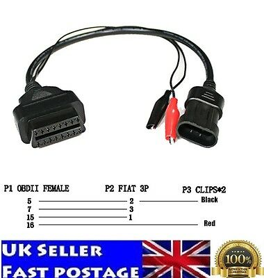 Fiat Alfa Lancia 3 Pin OBD To OBD 2 Diagnostic Adapter Extension Cable 16 Pin