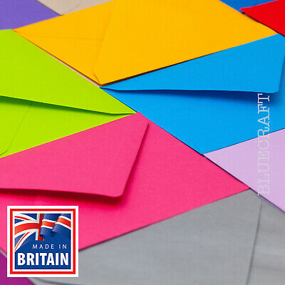 40 High Quality Coloured C6 114x162mm Envelopes for A6 Cards 100gsm FREE UK P&P
