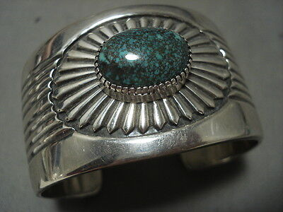 Tight And Intense Matrix Vintage Navajo Hvy Conho Silver Bracelet