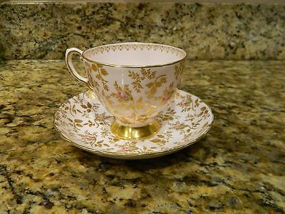 Tuscan Tea Cup And Saucer Chintz Floral Sunshine Pattern Painted Pink Teacup
