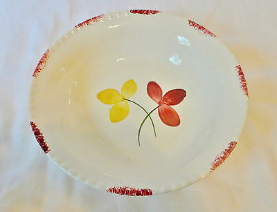 "Vintage Blue Ridge Pottery 9 1/4"" Serving Bowl Red & Yellow Flower Pattern"