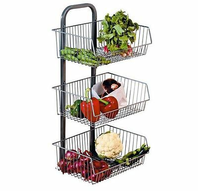 New Chrome Kitchen Trolley Rack Storage Fruit And Vegetable 3 Tier Basket Stand