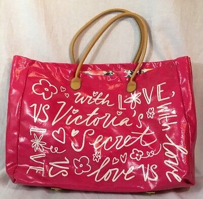 "Victorias Secret Pink ""With Love"" Oversize Beach Weekend Travel Tote Bag Shopper"