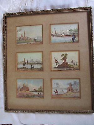 6 Small Framed Egyptian Revival Watercolour WaterColor Paintings Signed M