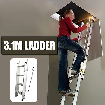 3.1M Loft Ladder 3 Section Aluminium Extension Extendable Folding With Handrail