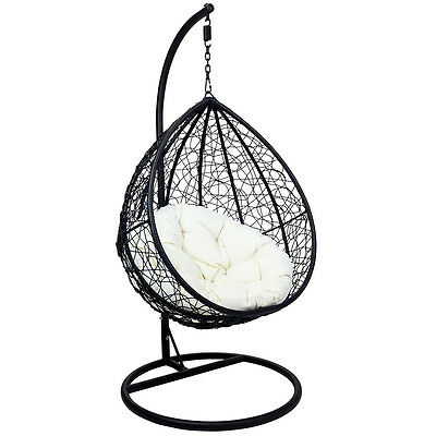 Charles Bentley Garden Wicker Rattan Patio Hanging Swing Chair Seat - Black