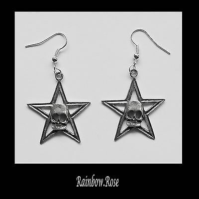 Earrings #252 Pewter STAR with SKULL (30mm x 33mm) GOTH