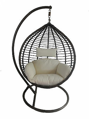 Charles Bentley Patio Outdoor Brown Rattan Hanging Swing Chair w/ Cream Cushion