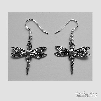 Earrings #269 Pewter Dragonfly w/ filigree lace wings (26mm x 22mm) dragonflies
