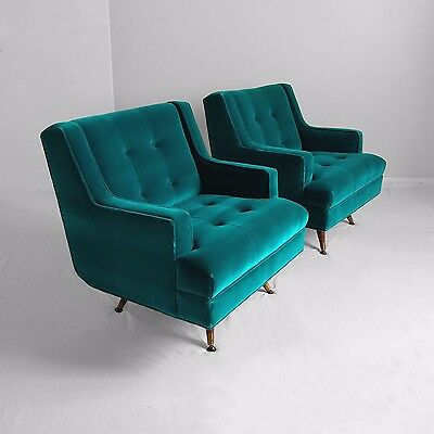 2 new restored MID CENTURY modern teal velvet SWIVEL CHAIRS mod atomic vtg 60s