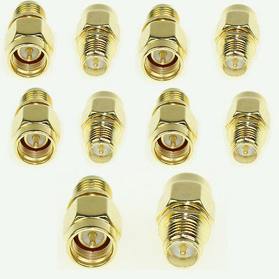 Lot 10pcs SMA Male Plug To RP-SMA female plug Straight RF Connector Adapter CA