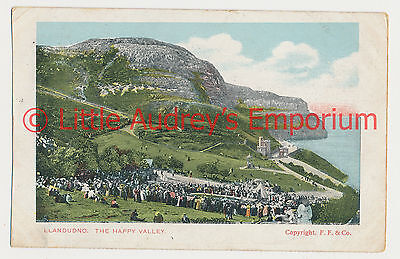 Old Postcard Llandudno The Happy Valley Colour Tinted Posted 1904 AL296