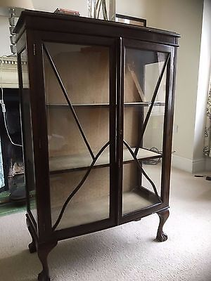 Antique Mahogany Display Glass Display Case Bookcase Cupboard