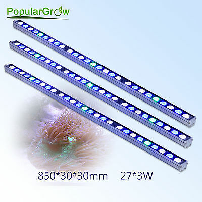 3pcs PopularGrow 81w Blue&White LED Aquarium Light Bar For Fish Tank Plant Coral