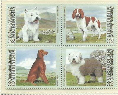 1995 Dogs in a Block of 4 set of 4  Complete MUH/MNH as Issued