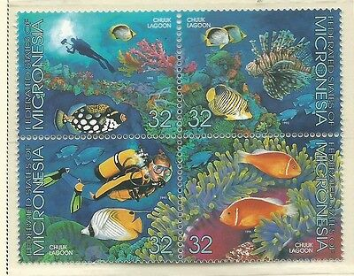 1995 Chuuk Lagoon in a Block of 4 set of 4  Complete MUH/MNH as Issued