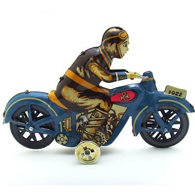 Wind up Man Riding Motorcycle Clockwork Metal Tin Toys Gifts Collectibles