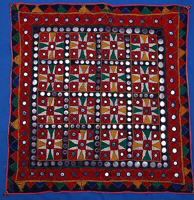 "Beautiful Antique/Vintage Indian Rajastan Banjara 26"" Embroidered Mirrors Square"