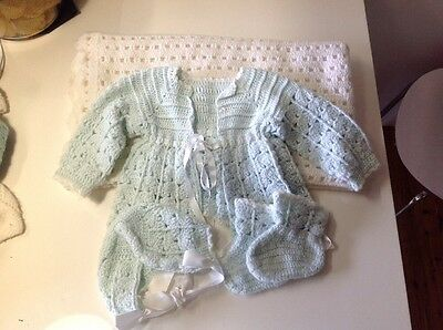 Knitted Baby Jacket Hat Boots Rug Boy Or Girl 00