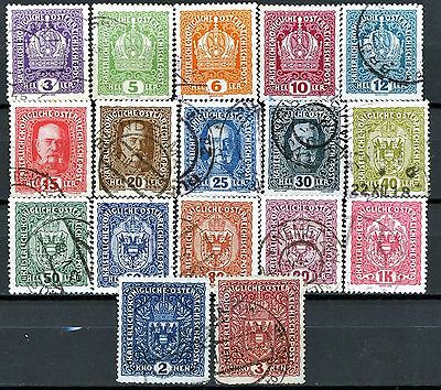 Austria Definitive Issues of 1916 Used Set of 17 Scott's 145 to 161