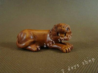 Chinese Old Boxwood Carving Lion Statue Wood Sculpture Wooden Craft W287