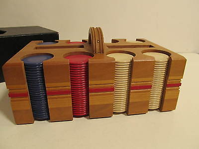 Vintage set of Early Poker Chips in Wooden Case with Cover