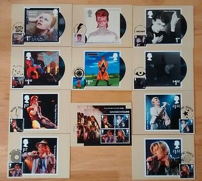 2017 David Bowie Set of 11 PHQ POSTCARDS USED  with 11 different postmarks FRONT