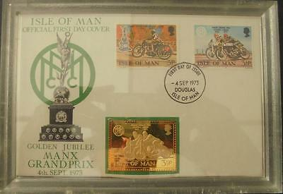 1973 Isle of Man TT Races Hallmarked Gold on Silver Stamp Ingot First Day Cover