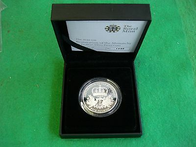ROYAL MINT 2010 RESTORATION OF MONARCHY SILVER PROOF PIEDFORT £5 POUND cased COA